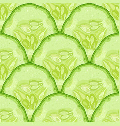 seamless pattern of cucumber slice cucumber vector image