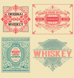 set of 4 vintage labels vector image