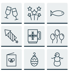 Set of 9 celebration icons includes firework vector