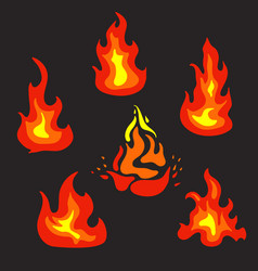 set of flat fire icons vector image