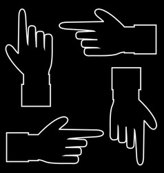 set of hand cursor pictograms isolated on black vector image