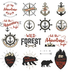 Set of the adventure labels emblems and design vector image