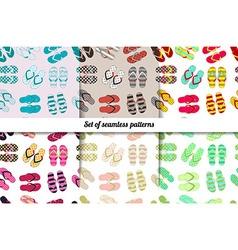 Set seamless patterns flip flops vector