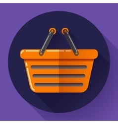 shopping basket icon Flat design style vector image
