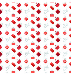 shopping icons seamless pattern white background vector image