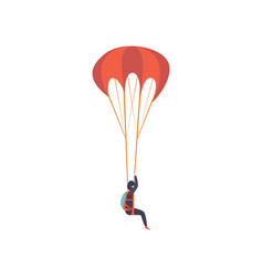 Skydiver descending with a parachute extreme vector