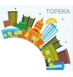Topeka kansas usa city skyline with color vector