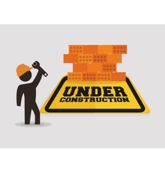Under construction with worker wrench brick wall vector