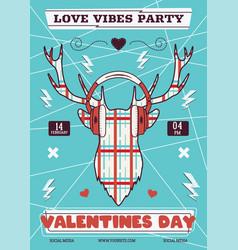 valentines day flyer template valentine love vector image