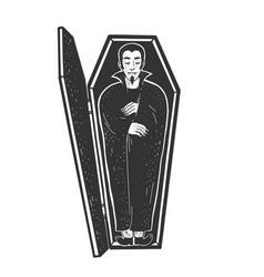 Vampire in coffin sketch vector
