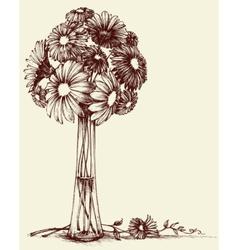 Vase of flowers wedding bouquet sketch retro style vector image