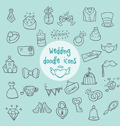 Wedding - doodle icons vector