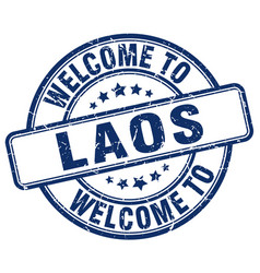 welcome to laos blue round vintage stamp vector image