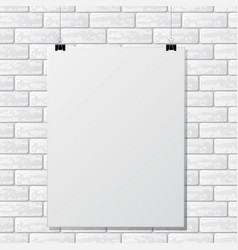 Gray brick wall with paper vector
