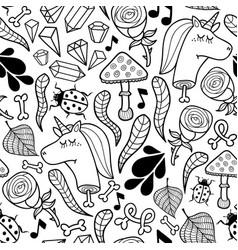seamless background unicorns and autumn plants vector image