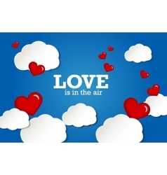 Valentines card Red hearts on sky background vector image vector image