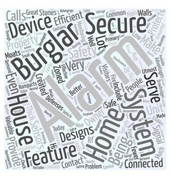 Burglar alarm security system word cloud concept vector