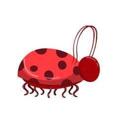cute ladybug character with bridle cartoon vector image