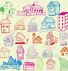 Design set Child Like Drawn Houses vector image
