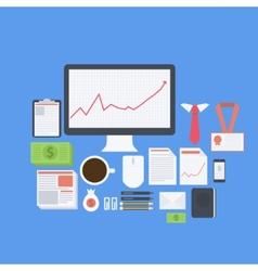 Flat design modern icons set of business vector image