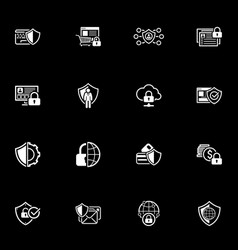 flat design protection and security icons set vector image vector image