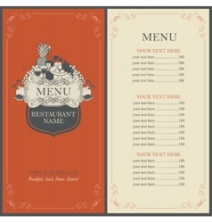 Frame menu with floral ornaments vector image