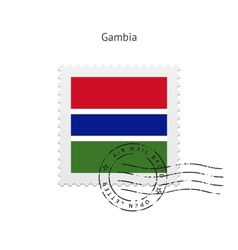 Gambia Flag Postage Stamp vector image vector image