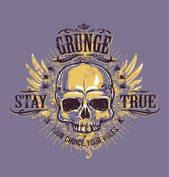 Grunge Skull Print 4 vector image vector image