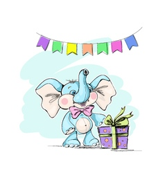 Cute and funny baby elephant with a gift and flags vector image vector image