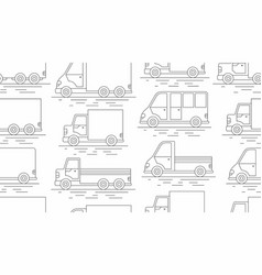 delivery van seamless pattern line icon vector image vector image