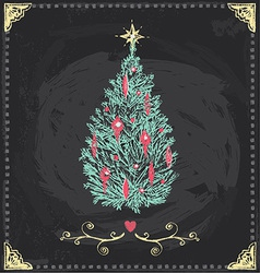 Vintage Christmas Tree Chalkboard Hand Drawn Set vector image