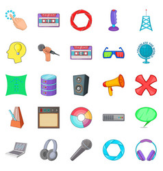 applications icons set cartoon style vector image vector image