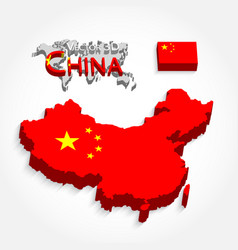 china 3d map and flag vector image