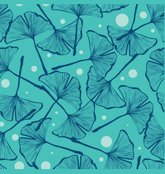 gingko biloba seamless background pattern vector image vector image