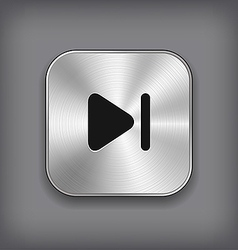 Media player icon - metal app button vector image vector image