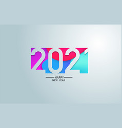 2021 happy new year in colour banner paper design vector image