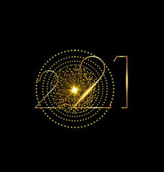 2021 happy new year with modern gold neon texture vector image