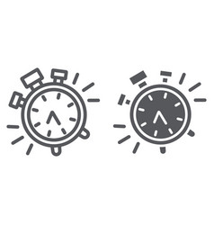 Alarm clock line and glyph icon time and clock vector