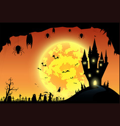 backgroundfestival halloweensunsetfull moon on vector image