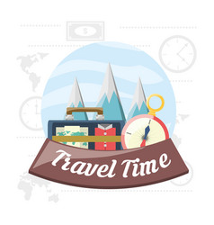 Bag and compass with snowy mountains cloudy vector
