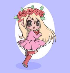Beautiful cute little girl with wreath on head vector