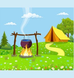 Black camping pot over a bonfire vector
