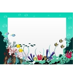 blank board with blue sea underwater background vector image