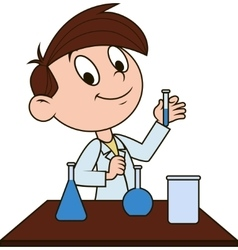 Boy in chemistry class vector