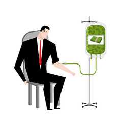 businessman transfusion of money donation of cash vector image