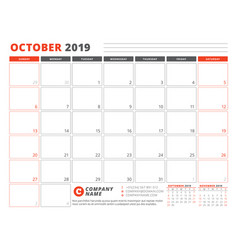 Calendar template for october 2019 business vector