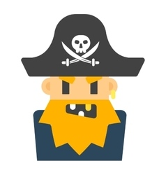 Captain pirate character silhouette vector