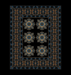 Carpet in blue shades with ethnic ornament vector