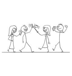 cartoon group or crowd people walking vector image