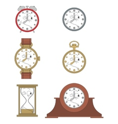 Cartoon winking clock face smiles 015 vector